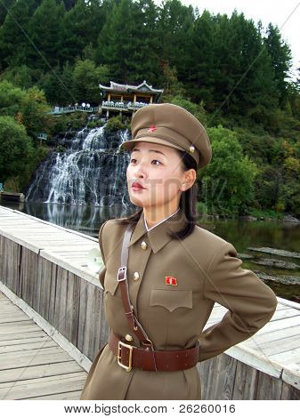 PAKTUSAN - SEPTEMBER 7: north korean military woman guard at the outpost near Paktusan mountain, September 7, 2008, North Korea