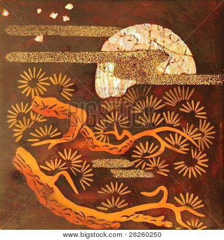 moon rising over pine tree. ancient korean handmade fresco