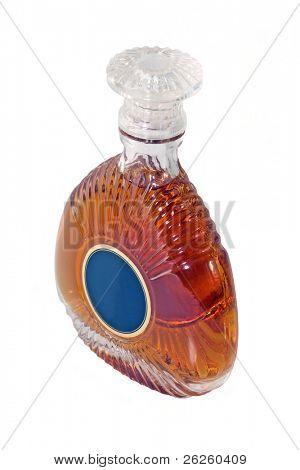 brandy bottle isolated on white