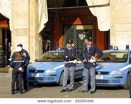 ROME - MAY 1: Italian police car and policemen on Labour May Day demonstration in Rome, May 1, 2008, Italy