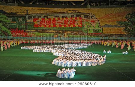 PYONGYANG - AUGUST 8, 2007: Biggest show in the world - Ariran Festival with the 150,000 people in the Pyongyang capital of North Korea, August 8, 2007, North Korea