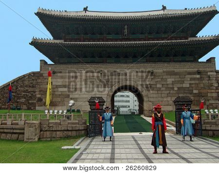 SEOUL - AUGUST 1: Royal guards during the changing of the guard ceremony at Gyeongbokgung Palace, Seoul, South Korea, August 1, 2007.