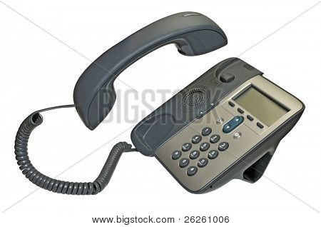 phone isolated on white with handset up