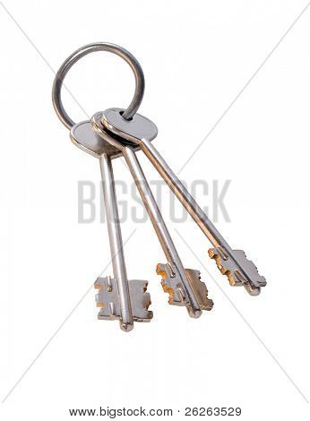 bunch of golden keys on the ring isolated on white