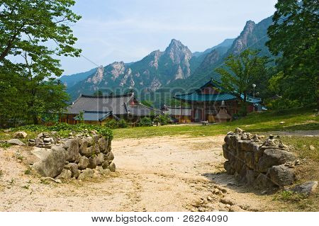 The yard of Buddhist Sinheungsa  Temple in Seoraksan National Park, South korea