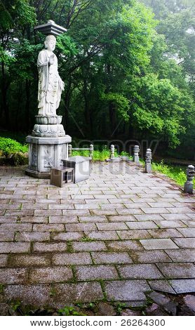 garden statue of Buddha in the Sinheungsa Temple in Seoraksan National Park, South korea