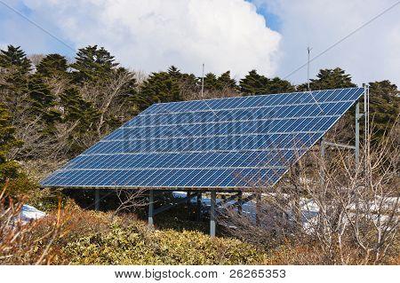 solar energy panel at Hallasan mountain at Jeju island of South Korea