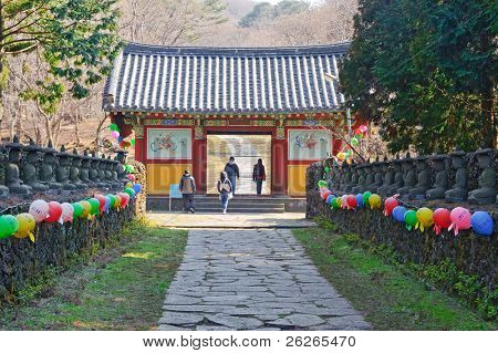 Entering alley and gate of Gwaneumsa buddhist Temple at Jeju Island Korea