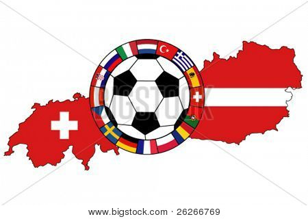 ball with flags on the background of Austria and Switzerland, EURO 2008