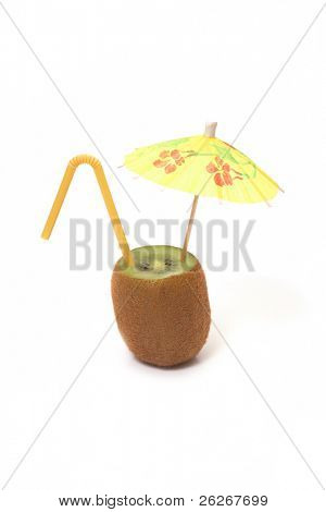 kiwi with umbrella and straw