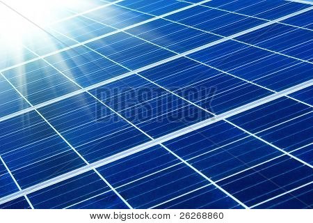 solar panel with sunbeams