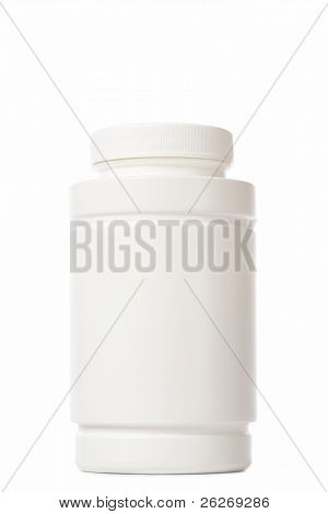 white medicine bottle on white background