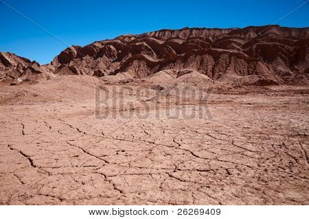 waterless landscape in Moon Valley, desert Atacama, Chile