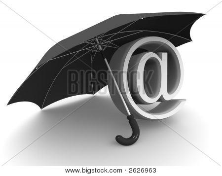 Symbol Of Internet With Umbrella. 3D