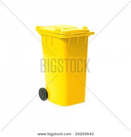 yellow recycling bin