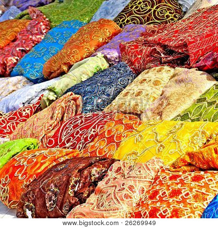colorful textile in tunisian market