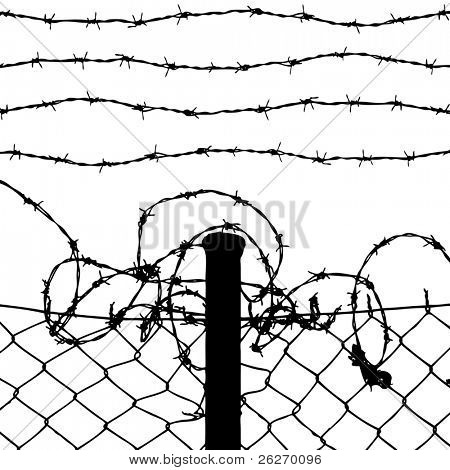 vector of wired fence with four barbed wires on white background