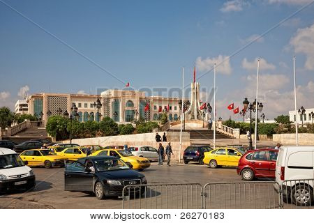 TUNIS - OCTOBER 5: Heavy traffic close to City hall due to higher security measures before elections on October 5, 2011 in Tunis. On October 23 Tunisians are set to vote for a constitutional assembly.