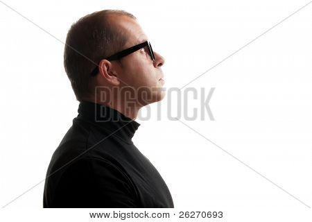 Man in black dolce vita isolated on white