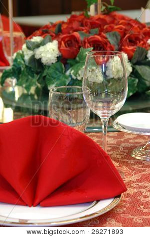 Details of a chinese wedding banquet table setting