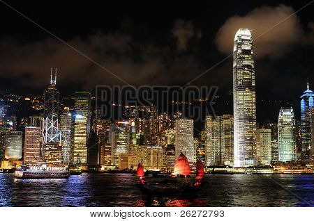 Night scene of cityscape in Hong Kong
