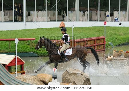 HONG KONG - AUGUST 11: Nicholson Andrew of New Zealand participates in Eventing Cross-Country, Olympic Equestrian Events August 11, 2008 in Hong Kong, China