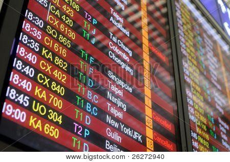 Flug-Zeitplan-Informationstafel in einem Flughafen