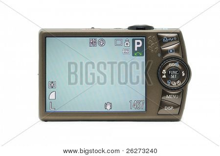 Digital camera with LCD screen on, in isolated white background