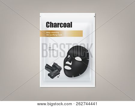 poster of Cosmetic Banner With 3d Realistic Package For Charcoal Anti-blackhead Facial Mask, Isolated On Backg