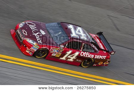 DAYTONA BEACH, FL - FEB 4: Tony Stewart brings his Old Spice car onto the track for a practice session for the Bud Shootout at the Daytona International Speedway FL Feb 4, 2010 in Daytona Beach, FL