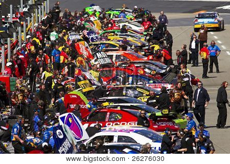 BRISTOL, TN - MAR 19: The NASCAR Sprint Cup teams take to the track for the running of the Food City 500 race at the Bristol Motor Speedway on Mar 19, 2010 in Bristol, TN.