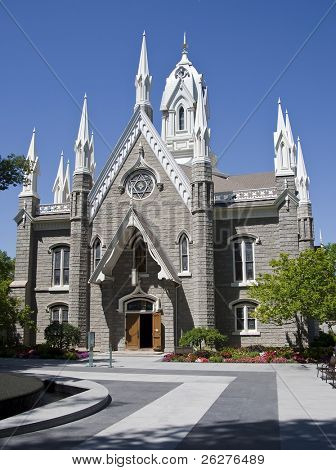 The Salt Lake Assembly Hall is a Victorian Gothic congregation hall. Rough granite walls are laid out in cruciform style making the hall's exterior look like a small gothic cathedral.