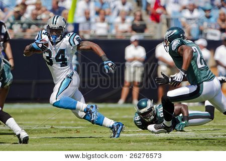 CHARLOTTE, NC - SEPT 13:  Carolina Panthers Running Back, DeAngelo Williams, runs against the Philadelphia Eagles at the Bank of America Stadium on Sept 13, 2008 in Charlotte, NC.