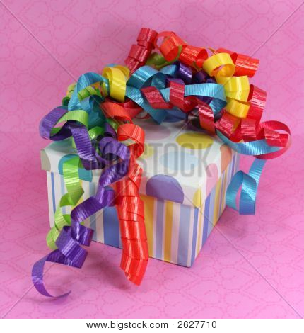 Gift Box With Colorful Curly Ribbons
