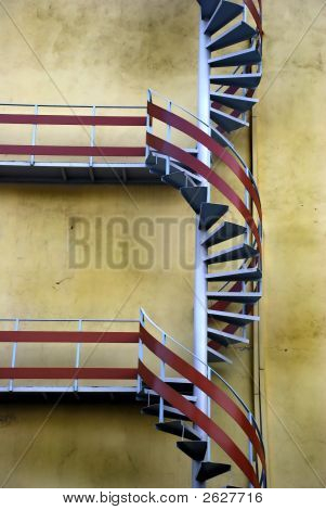Helical Stairs On Mildew Wall