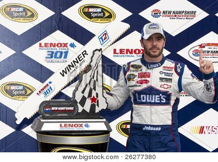 LOUDON, NH - JUNE 27:  Jimmie Johnson wins the LENOX Tools 301 race at the New Hampshire Motor Speedway in Loudon, NH on June 27, 2010