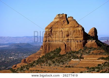 Rock formations in the American Southwest against a blue sky