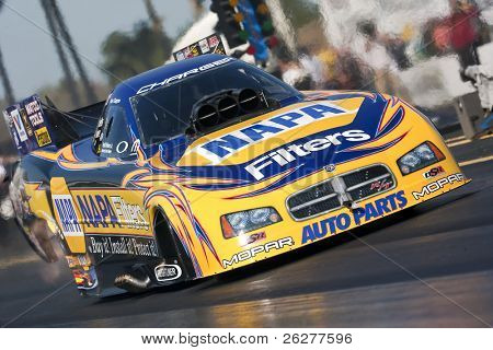 GAINESVILLE, FL - MAR 14:  NAPA Funny Car driver, Ron Capps, drives down the track during the 41st Annual Gatornationals at the Gainesville Raceway in Gainesville, FL on Mar 14, 2010.