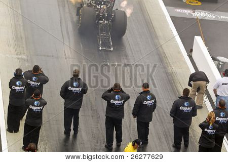 CONCORD, NC - MAR 28:  Brandon Bernstein brings his Copart Top Fuel dragster down the track at the zMax Dragway for the running of the Four-Wide Nationals event in Concord, NC on Mar 28, 2010