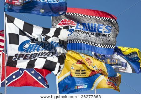 CONCORD, NC - OCT 16:  Fans show their support by flying their flags before the Bank of America 400 race at the Charlotte Motor Speedway in Concord, NC on Oct 16, 2010.