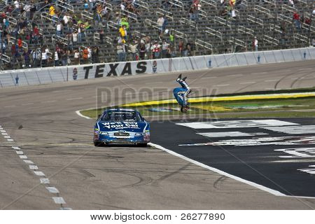 FORT WORTH, TX - NOV 06:  Carl Edwards holds wins the O'Reilly Auto Parts Challenge race on NOV 6, 2010 at the Texas Motor Speedway in Fort Worth, TX.