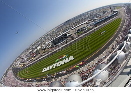 DAYTONA BEACH, FL - FEB 19:  The NASCAR Nationwide Series teams take to the track for the DRIVE4COPD 300 race at the Daytona International Speedway in Daytona Beach, FL on Feb 19, 2011.