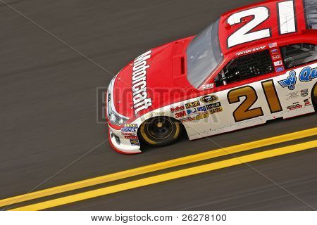 DAYTONA BEACH, FL - FEB 20:  Trevor Bayne (21) takes to the track for the Daytona 500 race on Feb 20, 2011 at the Daytona International Speedway in Daytona Beach, FL.