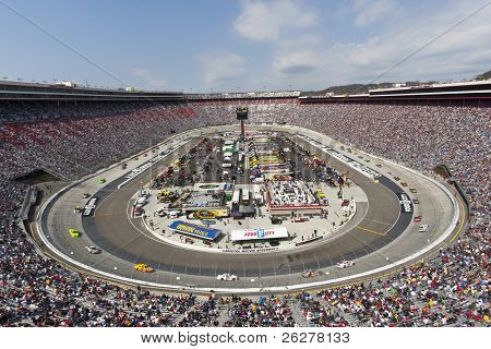 BRISTOL, TN - MAR 20:  The NASCAR Sprint Cup teams take to the track for the running of the Jeff Byrd 500 race at the Bristol Motor Speedway on March 20, 2011 in Bristol, TN.