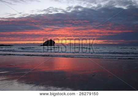Gull Rock after the sunset, Portreath, Cornwall