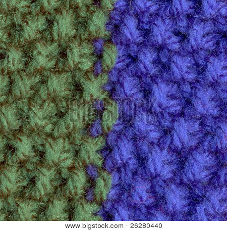 Close up of green and blue knitted wool.
