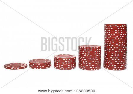 Poker chip stacks increasing in size.