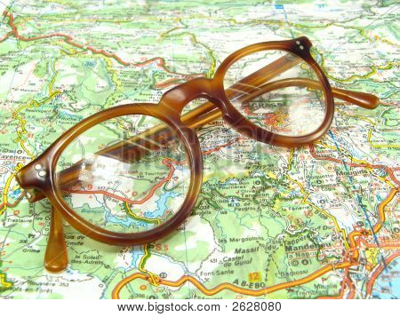Glasses On A Map