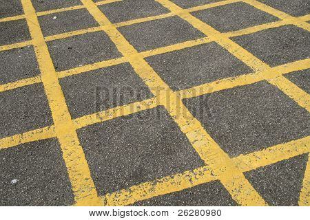 A British road box junction keep clear area.