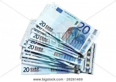A stack of 20 Euro currency bank notes, isolated on a white background.